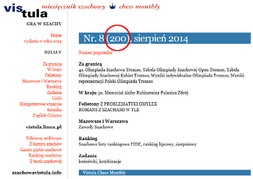 Szachowa Vistula nr 200